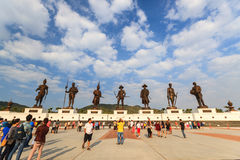 Ratchapak Park and the statues of seven former Thai king. Stock Photos