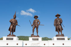 Ratchapak Park and the statues of seven former Thai kings Royalty Free Stock Images
