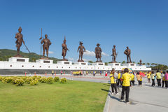 Ratchapak Park and the statues of seven former Thai kings Royalty Free Stock Photo