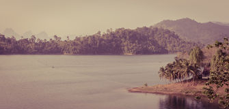 Ratchaprapha Dam in Surat Thani province,Thailand. Vintage effec Royalty Free Stock Photography