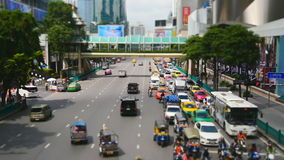 Ratchaprasong junction in Bangkok. Bangkok, Thailand-October 6, 2016: Thailand's capital is known for being among some of the more congested cities in Southeast stock footage