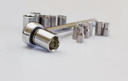 Ratchet with socket set. A small set of sockets to fit a ratchet drive Royalty Free Stock Images