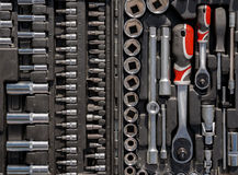 Ratchet spanners in car toolbox. Closeup photo Stock Photo