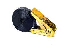 Ratchet strap. Ellow ratchet strap on a white background stock photography