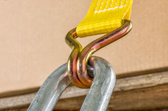 Ratchet strap. Load securing with a ratchet strap royalty free stock photography