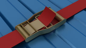 Ratchet strap securing blue container Royalty Free Stock Images