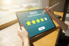 Rate customer experience review. Service and Customer satisfaction. Five Stars rating. Business internet concept. stock photos