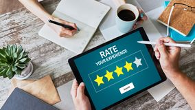 Rate customer experience review. Service and Customer satisfaction. Five Stars rating. Business internet and technology concept royalty free stock photography