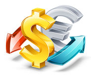 Rate of exchange: dollar, euro. Vector illustration of rate of exchange sign on white background vector illustration