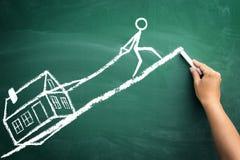 Rate für Haus, Skizze des zweifelhaften Geschäfts Stockfotografie