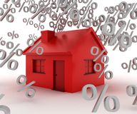 Rate House. Interest rates falling from a house Royalty Free Stock Photos