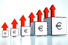 Rate increases in the euro in financial position Royalty Free Stock Photography