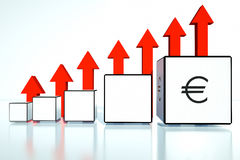 Rate increases in the euro in financial position Stock Photography