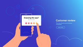 Free Rate Our Mobile App. Customer Feedback And Rating 5 Stars For App Or Service. Stock Photos - 161812953