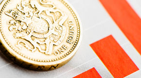Rate of the pound sterling (shallow DOF). One pound coin on fluctuating graph. Rate of the pound sterling (shallow DOF Royalty Free Stock Image