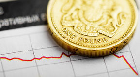 Rate of the pound sterling (shallow DOF). One pound coin on fluctuating graph. Rate of the pound sterling (shallow DOF Stock Photo