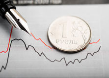 Rate of the Russian rouble (shallow DOF) Royalty Free Stock Photo