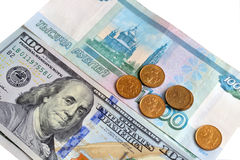 The rate of the Russian ruble and the dollar, the concept of cor Stock Image