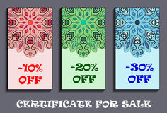 -10, -20 and -30 rate sale tags with flowery mandalas design. Coupons for discount. Flyers offer. For shopping. Royalty Free Stock Photo