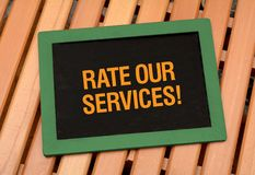 Rate Services - Customer Care concept on chalkboard.  Stock Photos