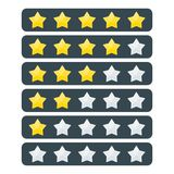 Rate stars set. 5 stars rating. Feedback and evaluation, degree of satisfaction with product or service on social network and on website. Flat vector cartoon Royalty Free Stock Photography
