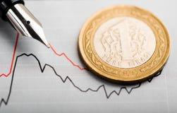 Rate of the turkish lira (shallow DOF) Stock Image
