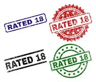 Grunge Textured RATED 18 Stamp Seals. RATED 18 seal prints with corroded style. Black, green,red,blue vector rubber prints of RATED 18 caption with corroded royalty free illustration