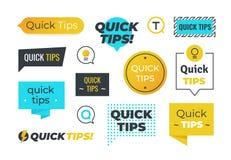 Rateformen Hilfreiche Trickembleme der schnellen Spitzen und Logos, Spitzenanzeigen-Fahnenentwurf Vektorsatz hilfreicher Rat stock abbildung