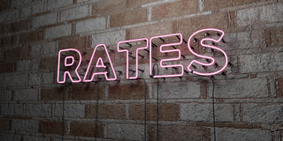 RATES - Glowing Neon Sign on stonework wall - 3D rendered royalty free stock illustration Stock Photography