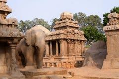 rathas de pandava de mamallapuram Images libres de droits