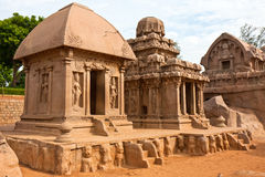 Rathas at Mahabalipuram. Three of the five rathas at Mahabalipuram, India Royalty Free Stock Photography