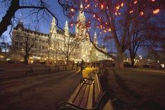 Rathaus, здание муниципалитет Вена стоковое фото rf
