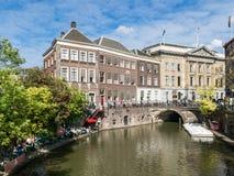 Rathaus auf Oudegracht-Kanal in Utrecht, die Niederlande Lizenzfreies Stockfoto