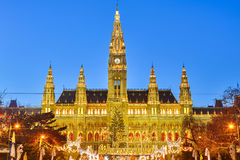 Rathaus and Christmas market in Vienna Stock Images