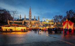 Rathaus and Christmas market in Vienna Stock Photography