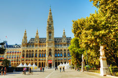Rathaus (City hall) in Vienna, Austria in the morning Royalty Free Stock Photos