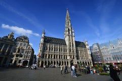 Rathaus der Stadt von Brüssel, ein Gebäude des gotischen Baustils bei Grand Place in Brüssel, Belgien Lizenzfreies Stockfoto