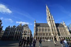 Rathaus der Stadt von Brüssel, ein Gebäude des gotischen Baustils bei Grand Place in Brüssel, Belgien Lizenzfreies Stockbild