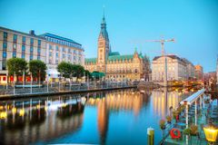Rathaus of Hamburg, Germany. Early in the morning royalty free stock photo