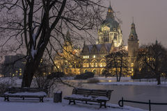Rathaus Hannover in winter Stock Images