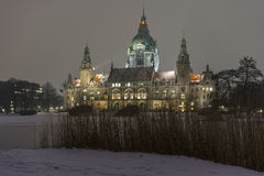 Rathaus Hannover in winter Stock Photos