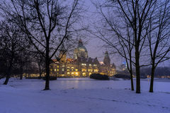 Rathaus Hannover in winter Royalty Free Stock Image