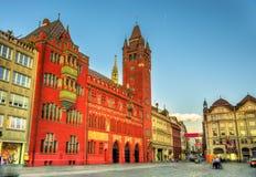Rathaus, het Stadhuis van Bazel - Zwitserland stock foto