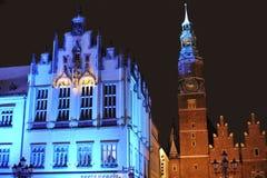 Rathaus im Wroclaw auf Silvester Eve Lizenzfreie Stockfotos