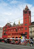 Rathaus on Markplatz square in Basel, Switzerland. stock photo