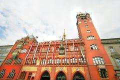 Rathaus, mening van het Stadhuis van Bazel, Zwitserland. Royalty-vrije Stock Foto's