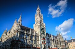 Rathaus of Munich. White city hall of Munich in Germany on the clear sky day Stock Photos