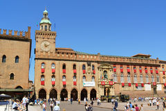 Rathaus Palazzo D'Accursio im Bologna, Italien Stockbilder