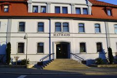 Rathaus. Sunlit town hall in the German city Selbitz Royalty Free Stock Images