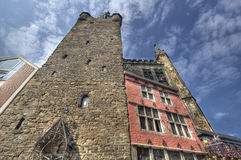 Rathaus torn i Aachen, Tyskland Arkivfoto
